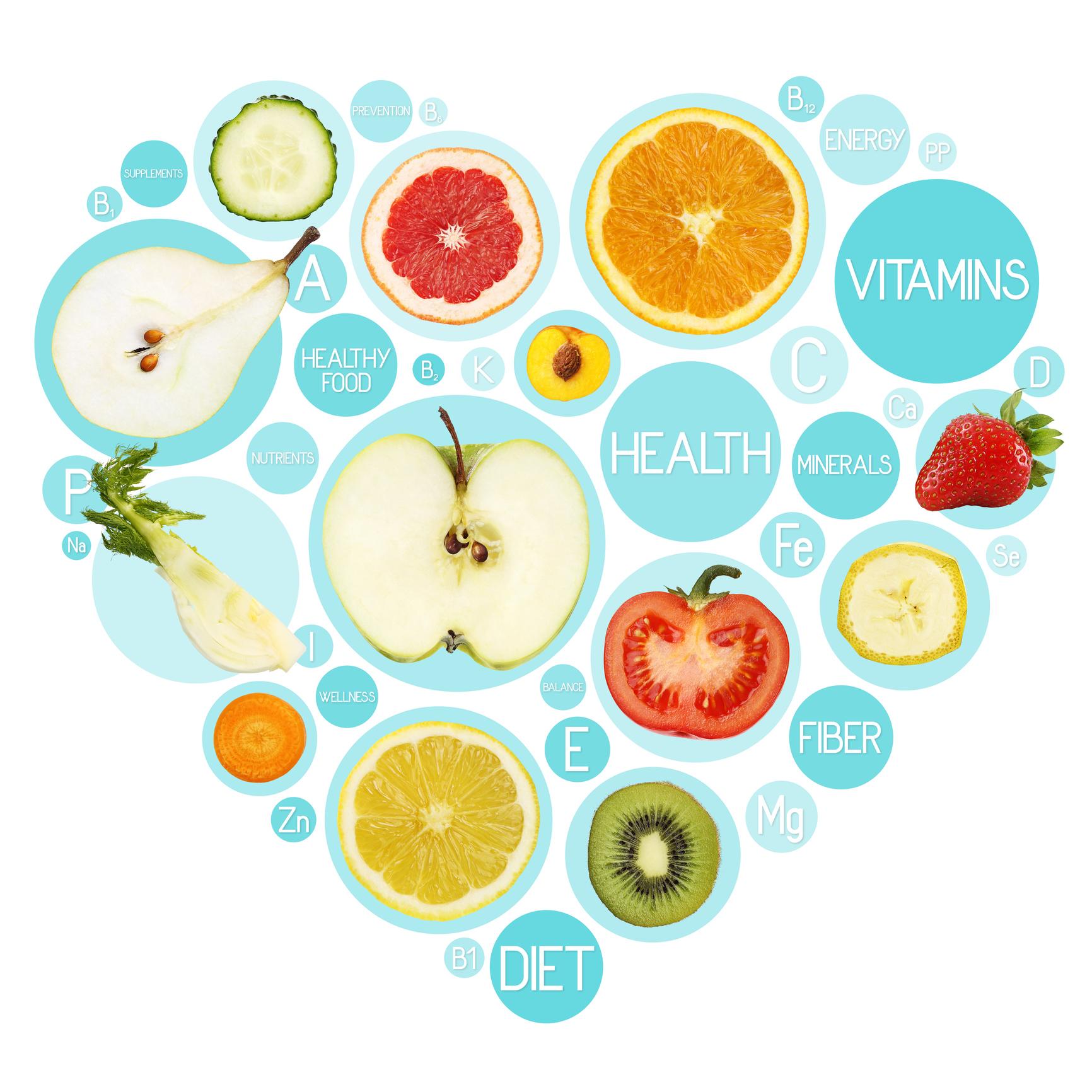 Fruit symbols in hearth shape, diet concept